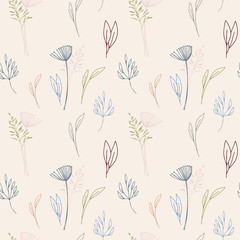 Vector floral seamless pattern with stylized dill or fennel flower, leaves and  grass.