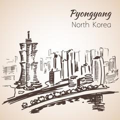Pyongyang city sketch. North Korea.