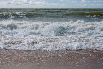 Baltic Sea with waves and sand