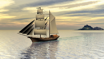 3D rendering of a pirate ship sailing of in the early morning