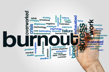 Burnout word cloud on grey background