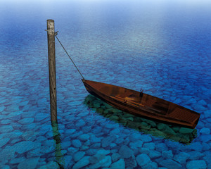 Boat floating in the water on pole anchor close up. Rock on the bottom 3d rendering