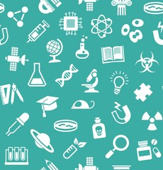 Science, background, seamless, blue-green, vector.  White flat icons on a blue-green field. Different types of scientific activities. Colored background.