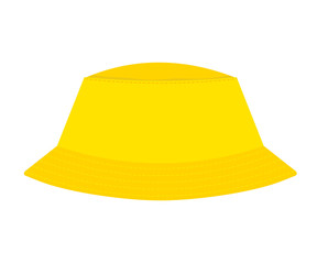 Yellow abstract panama hat on a white background. Symbol of summer holiday. stock vector