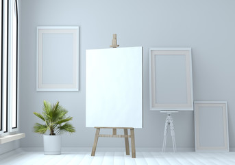 3d illustration of a wooden easel with blank canvas and empty frames. Mock up. artist's Workshop