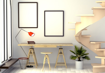 3d illustration of abstract interior with a work desk, a floor lamp, a window and a spiral