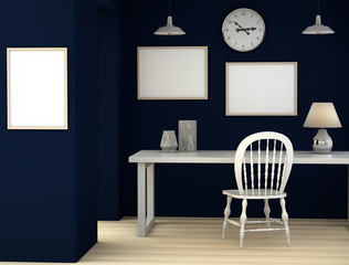 Abstract 3D blue room with a desk, lamp and marble vases. Mock up rendering