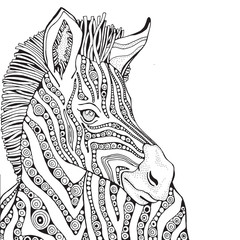 Coloring Book page for Adult and children. Zebra