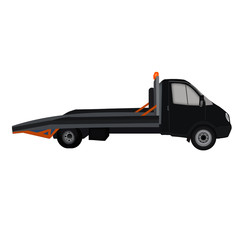 isolated black tow truck flat icon, white background. wrecker, breakdown truck