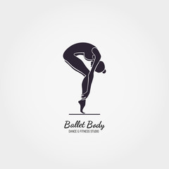 Dance icon concept. Ballet Body studio logo design template. Character silhouette isolated. Fitness class banner background with symbol of abstract ballerina in dancing pose. Vector illustration.