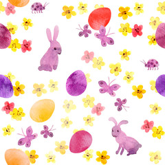 Easter bunny, colored eggs in flowers and butterflies. Cute seamless floral easter pattern. Watercolor