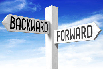 Forward, backward - wooden signpost
