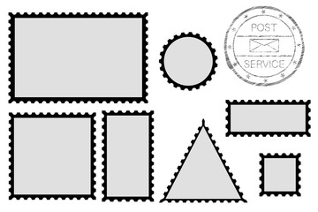 Blank post stamp shape - rectangle, triangle, circle, square. With black border