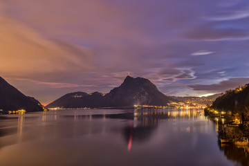 Sunset , Lugano lake, Lugano, Canton Ticino, Switzerland