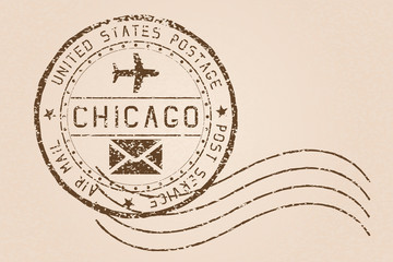 Chicago mail stamp. Old faded retro styled impress