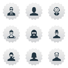 Vector Illustration Set Of Simple Avatar Icons. Elements Job Man, Mysterious Man, Felon And Other Synonyms Man, Mustaches And Hat.
