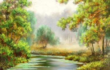 Forest,tree,river, paintings landscape