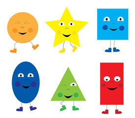 set of funny dancing basic geometric smiling cartoon shapes for children / vectors illustration for kids
