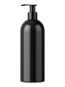 Black glossy bottle with pump