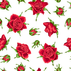 Seamless pattern with red roses. Beautiful realistic flowers, buds and leaves