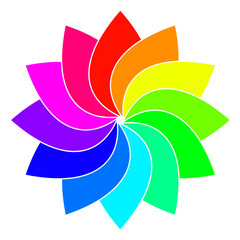 Rainbow spectrum color wheel. Children wind vane vector illustration.
