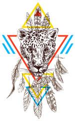 Vector hand-drawn illustration leopard.