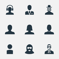 Vector Illustration Set Of Simple Human Icons. Elements Insider, Felon, Moustache Man And Other Synonyms Business, Culprit And Avatar.