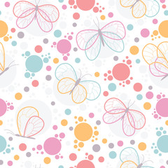 Bright colorful butterflies vector seamless pattern.