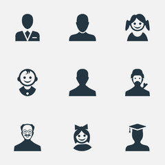 Vector Illustration Set Of Simple Member Icons. Elements Girl Face, Whiskers Man, Male User And Other Synonyms Business, Workman And Whiskers.