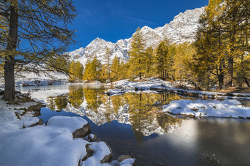 Reflection in the Lake Bleu in autumn (Cervinia, Valtournenche, Aosta province, Aosta Valley, Italy, Europe)