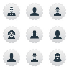 Vector Illustration Set Of Simple Avatar Icons. Elements Bodyguard, Felon, Little Girl And Other Synonyms Female, Inspector And User.
