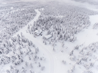 Aerial view of snow covered forest with hut