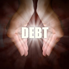 Hands Holding Words - Debt