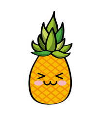 kawaii pineapple fruit icon over white background. colorful design. vector illustration