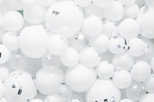 background of many white balloons. white texture