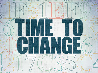 Time concept: Time to Change on Digital Data Paper background