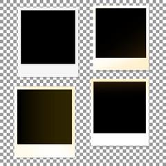 Set of old photo plastic border frames on a transparent background. Vector illustration.