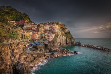 Manarola, Liguria, Italy. Landscape view of the city from the seaside.