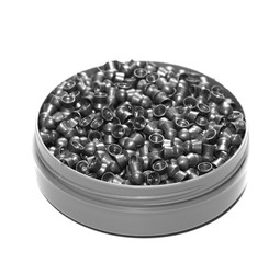 can of lead pellets isolated on white