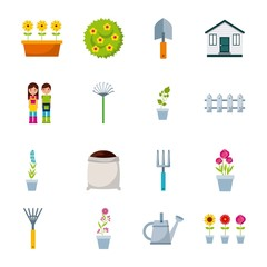 gardening icon set over white background. colorful design. vector illustration