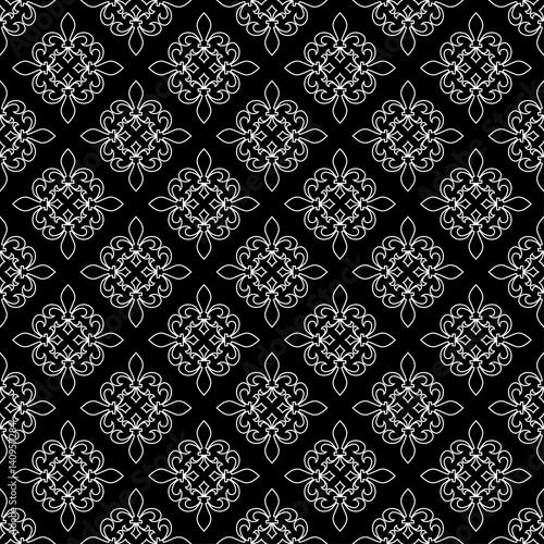 fleur de lis seamless pattern vector illustration black white