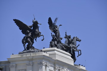 Winged Statues in Madrid, Spain