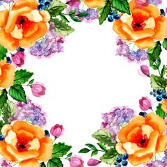 Watercolor flower roses wreath