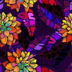 Seamless abstract tropical flower pattern in contrasting bright and dark tones
