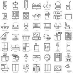 Room furniture linear icons set