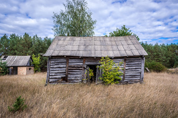 Wooden building in abandoned Masheve settlement, Chernobyl Exclusion Zone, Ukraine