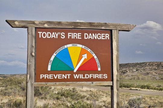 high fire danger roadside sign in Colorado