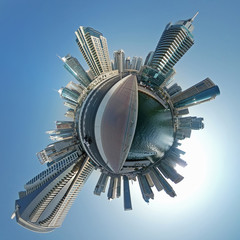 Dubai, United Arab Emirates - November 5, 2016: Little planet, Dubai center with futuristic skyscrapers
