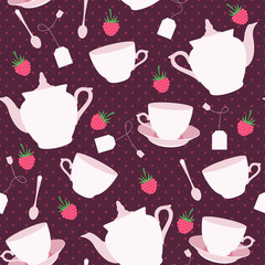 Seamless pattern with cups and teapots and raspberry