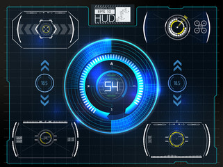 Abstract background with different elements of the hud. Vector illustration.Head-up display elements.